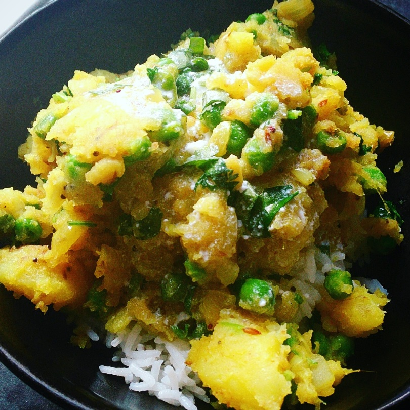 Bombay potato and pea curry with rice and a cheat's kadhi