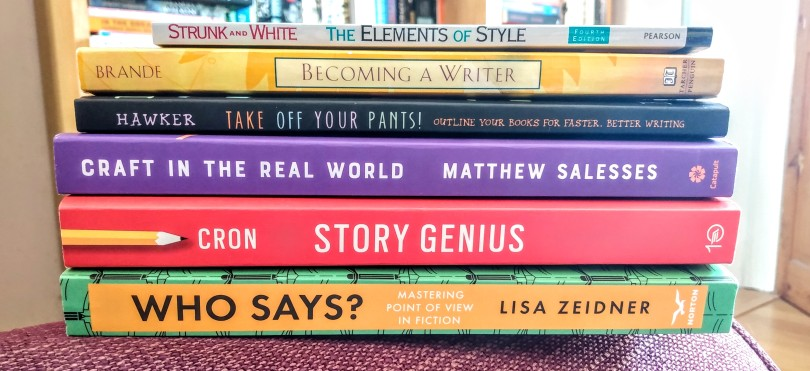 A pile of books about writing.